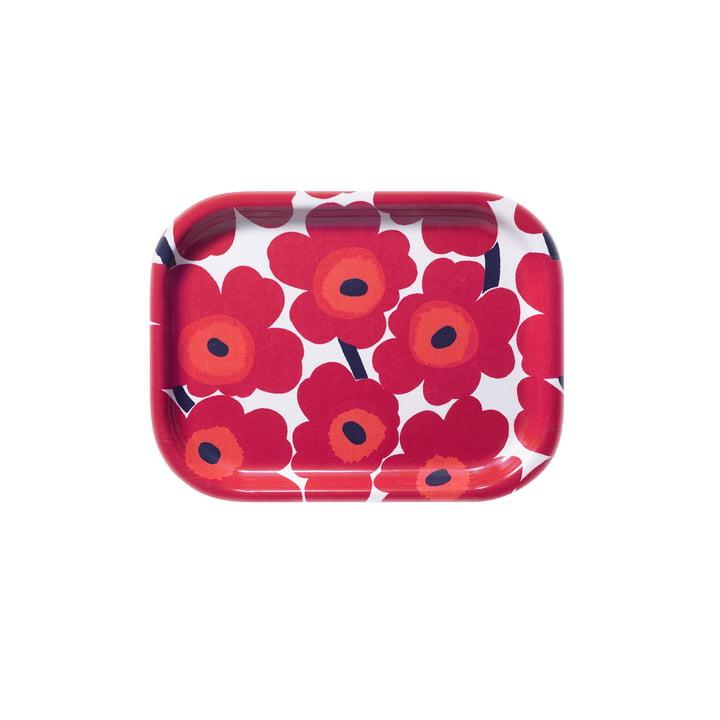 Marimekko - Mini-Unikko Tablett 27 x 20 cm, weiss / rot
