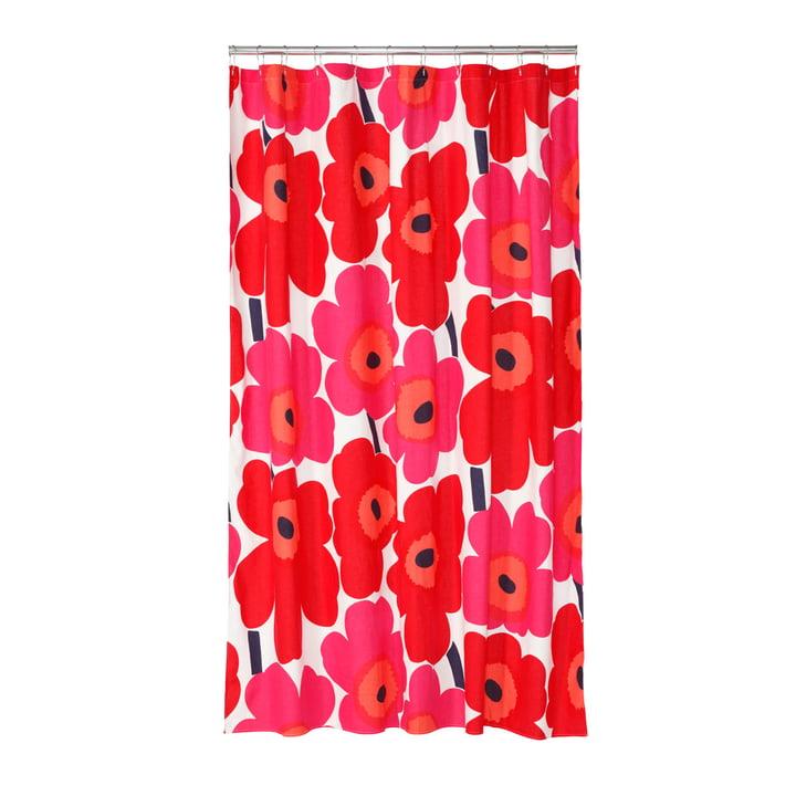 Marimekko - Unikko Duschvorhang, weiss / rot