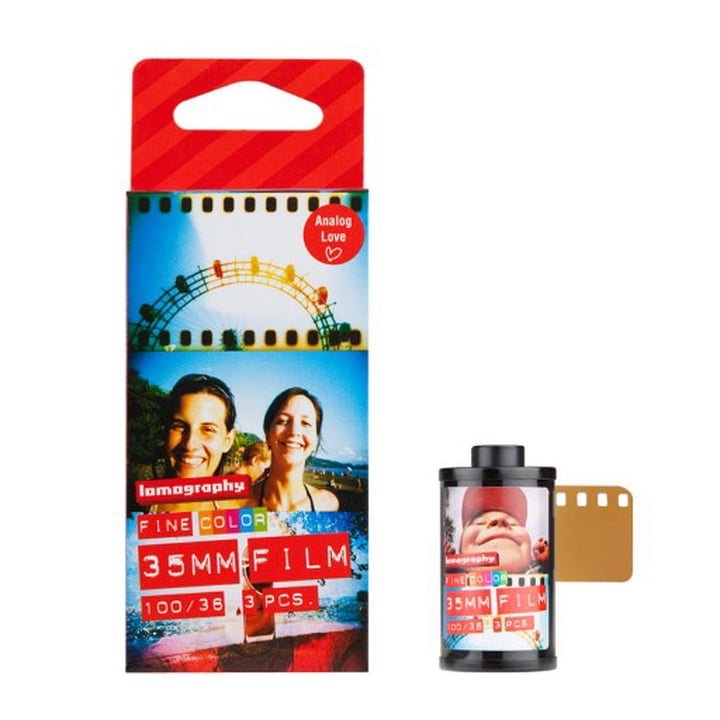 Lomography - 135 Farbnegativfilm, 100 ISO - Verpackung mit Film