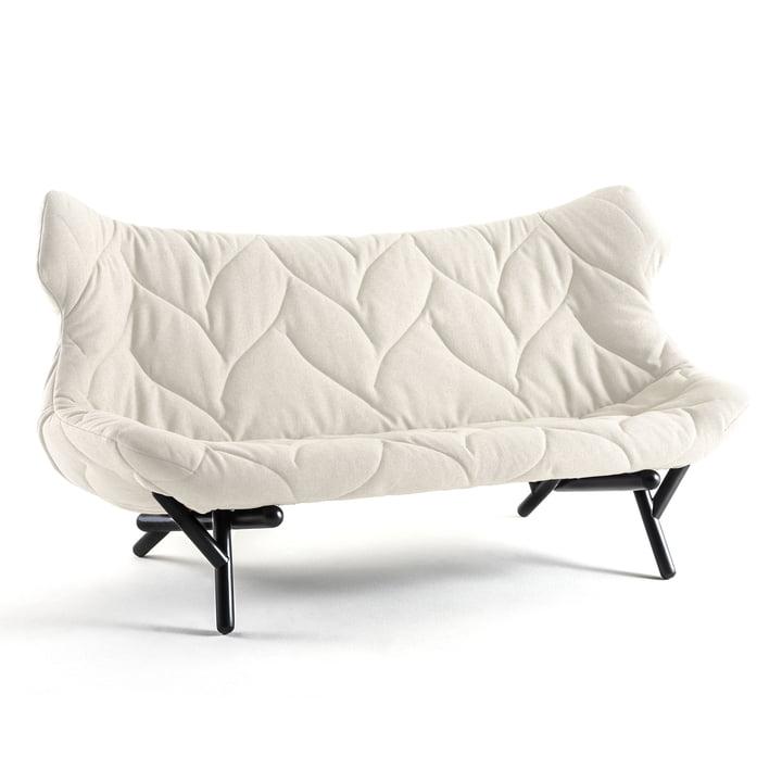 Kartell - Foliage Sofa, Wollstoff weiss, schwarze Beine