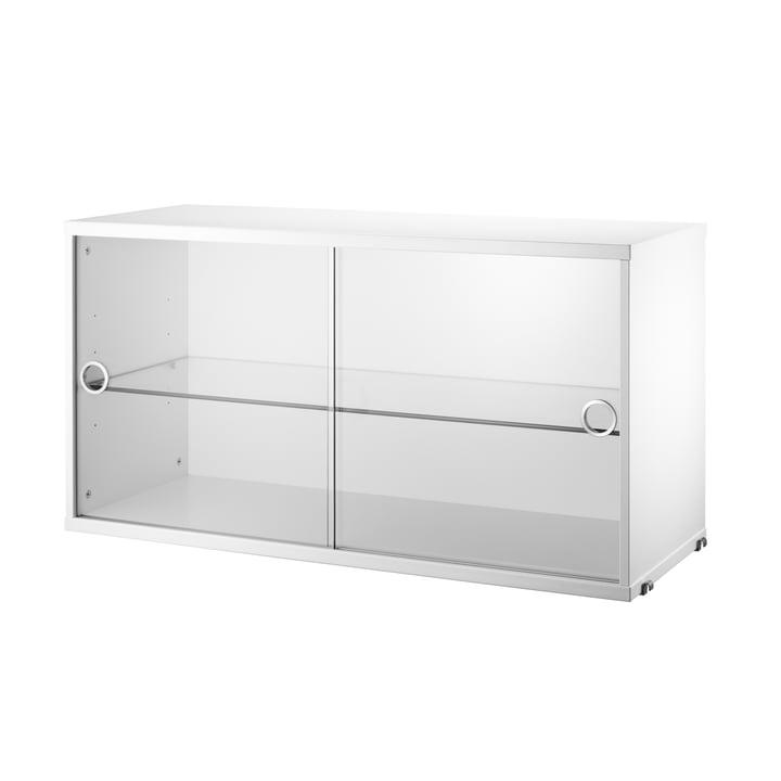 Vitrinenschrank mit Schiebetüren in Glas 78 x 30 cm von String in Weiss