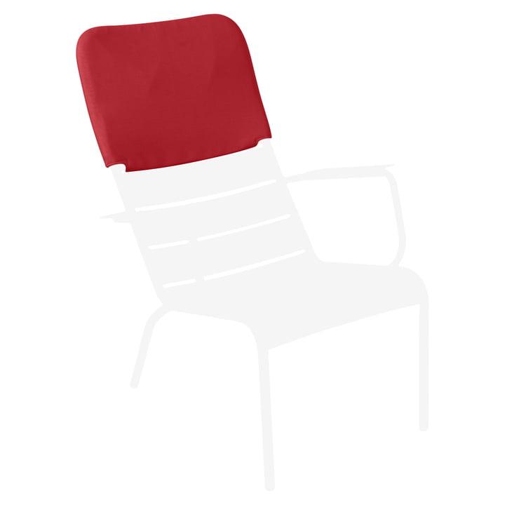 Luxembourg Sessel in Baumwollweiss mit Kopfstütze in Mohnrot von Fermob
