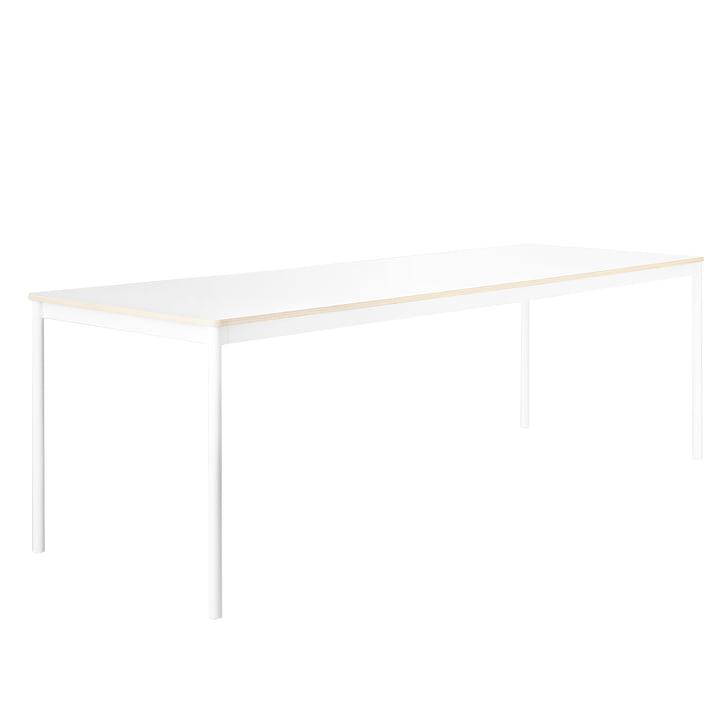 Der Base Table, Gestell: weiss, Platte: weiss mit Sperrholzkante von Muuto