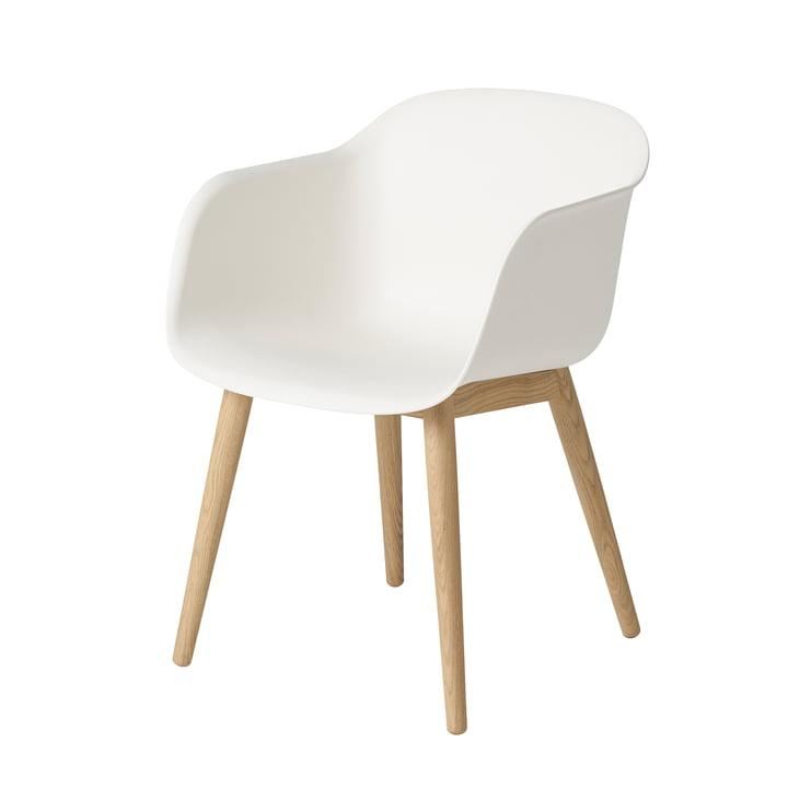 Fiber Chair Wood Base von Muuto in Eiche / weiss