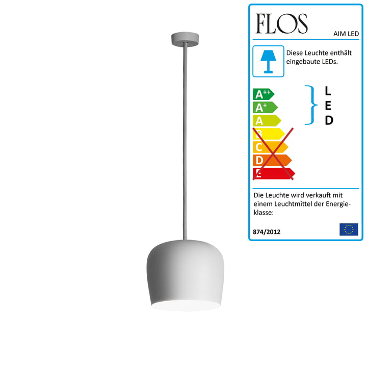 Flos - AIM Small LED-Pendelleuchte Fix, weiss