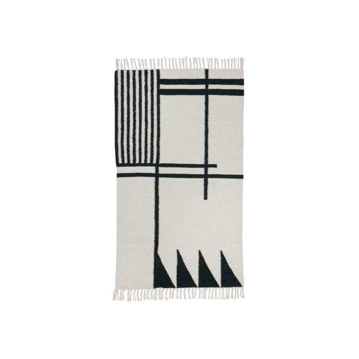 ferm living - Kelim Rug, black lines, klein