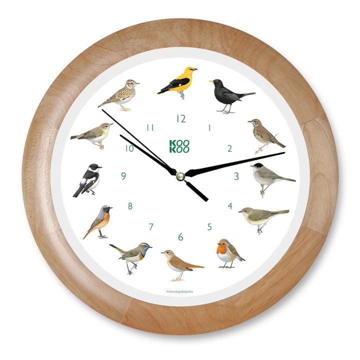 KooKoo - Singvogel Wanduhr, Holz