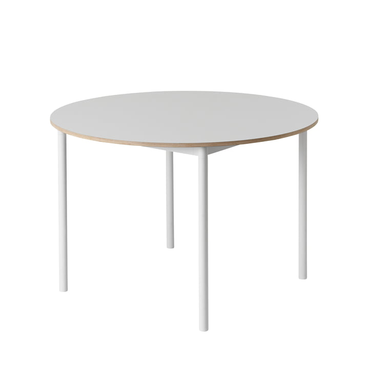 Muuto - Base Table Ø 110 cm in Weiss mit Sperrholzkante