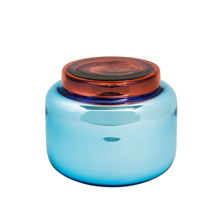Low Container Vase von Pulpo in Blau mit rotem Deckel