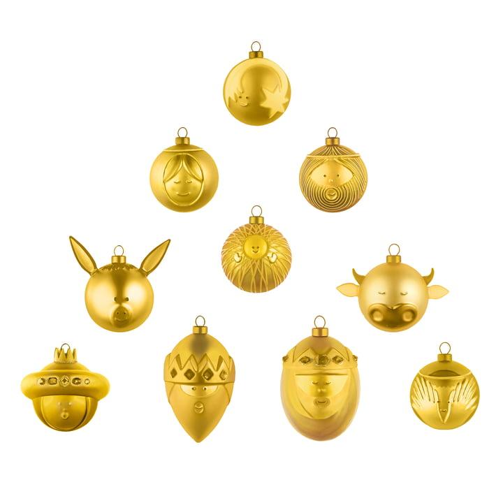 Weihnachtsbaumkugeln (10er-Set) von A di Alessi in gold