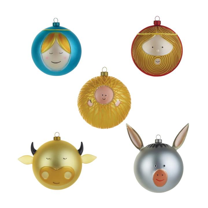 Jesuskind Maria Josef Ochs und Esel Weihnachtsbaumkugeln (5er-Set) von A di Alessi