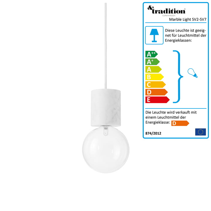 &Tradition - Marble Light SV2 Pendelleuchte in Weiss