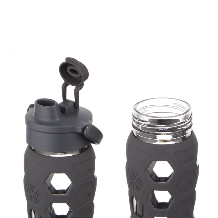 Glasflasche 0.6 Liter mit Flip Top Cap von Lifefactory in Carbon