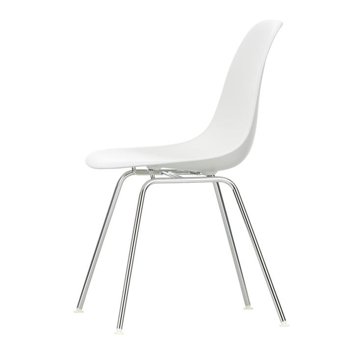 Vitra - Eames Plastic Side Chair DSX (H 43 cm), verchromt / weiss, Filzgleiter weiss (Hartboden)