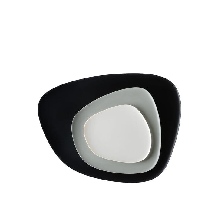 Namasté Tablett Set von Kartell in Schwarz, Grau und Taupe