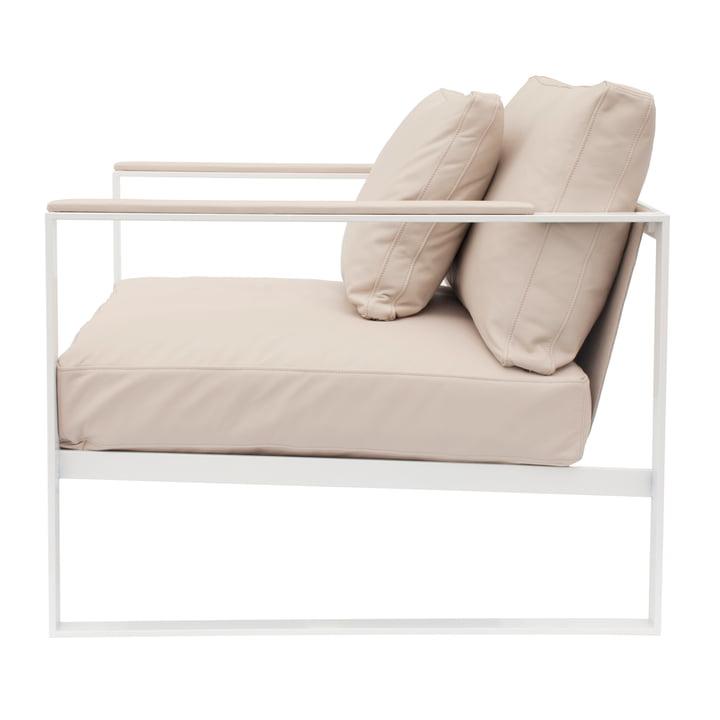 Monaco Lounge Chair von Röshults in Weiss mit Leder in Sand