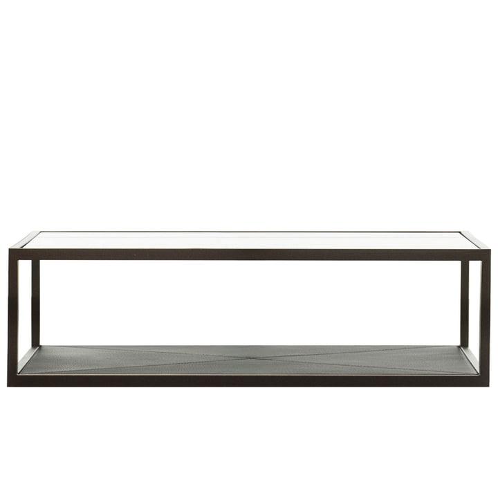 Monaco Coffee Table 100 x 50 cm von Röshults in Schwarz mit schwarzem Leder