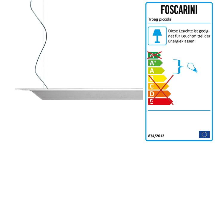 Die Troag Pendelleuchte piccola von Foscarini in weiss, 2 m