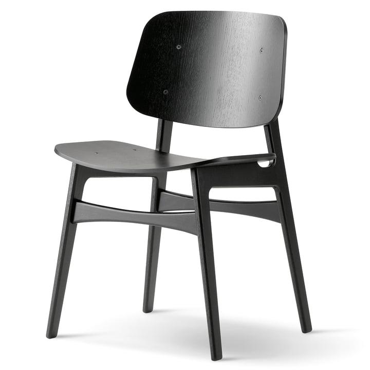 Søborg Stuhl von Fredericia aus Eiche schwarz lackiert