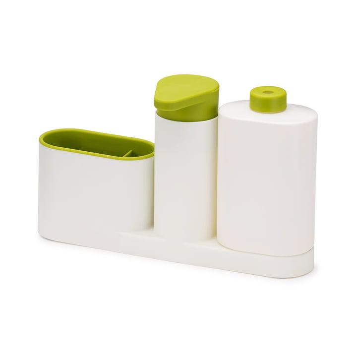 3-teiliges SinkBase Plus Spülbecken-Reinigungs-Set von Joseph Joseph in Weiss und Grün