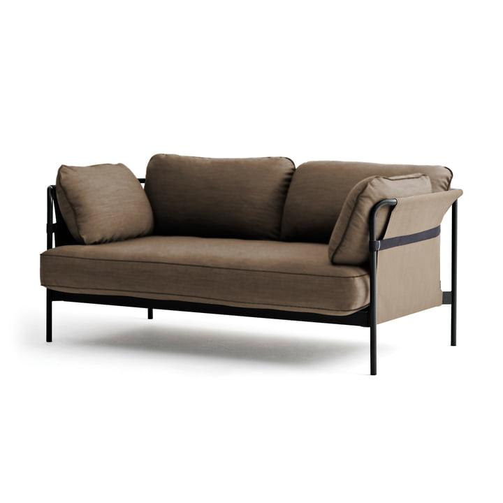 Hay - Can Sofa, 2-Sitzer, schwarz / Canvas army / Canvas army