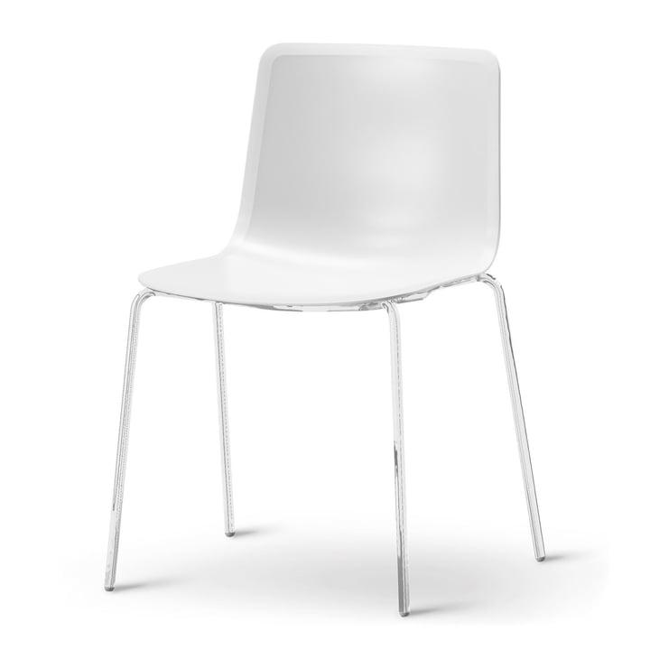 Pato 4 Beine Stuhl von Fredericia in Weiss/Chrom