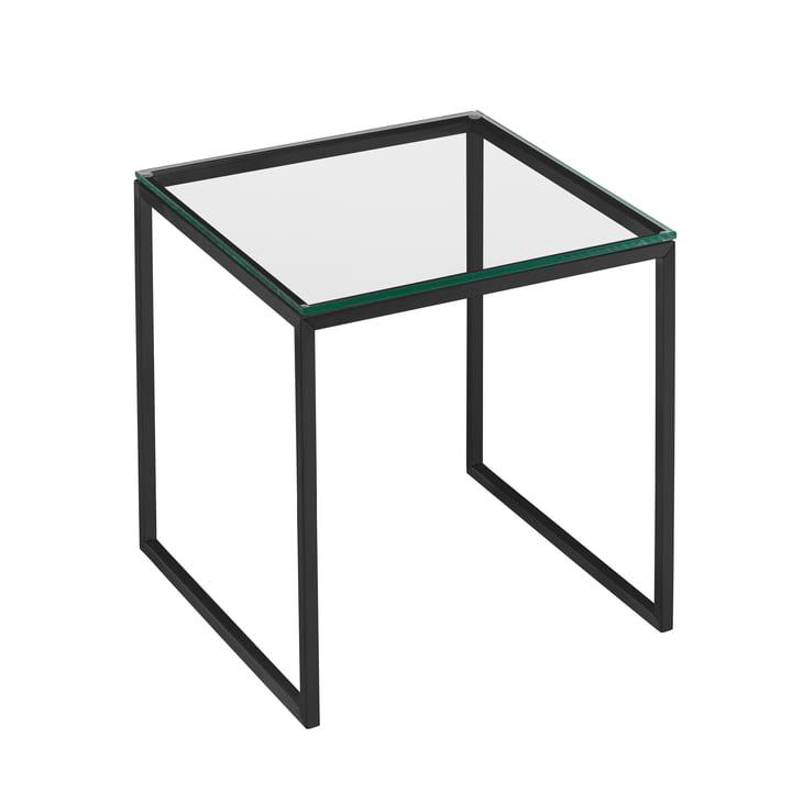 Less H 22/2 Beistelltisch Kufengestell von Hans Hansen in schwarz / Glasplatte transparent