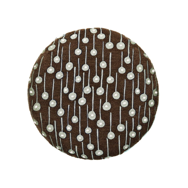 Das Circular Cushion mit Pop Rain Stoff in braun