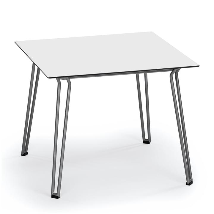 Slope Tisch 90 x 90 cm von Weishäupl aus Edelstahl in HPL Weiss