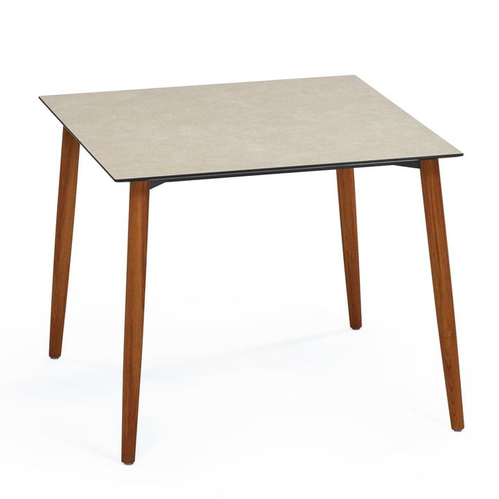 Slope Tisch 90 x 90 cm von Weishäupl aus Teakholz in HPL Taupe
