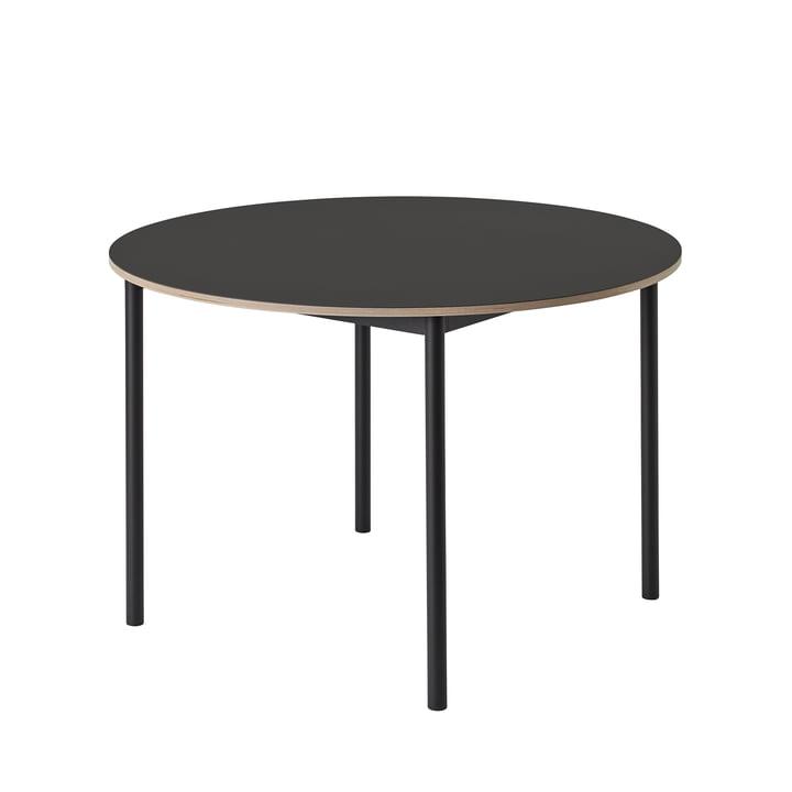 Der Base Table Ø 110 cm in schwarz / Sperrholzkante von Muuto