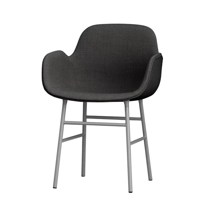 Form ArmchairSteel Legs (gepolstert) von Normann Copenhagen in Grau (Breeze Fusion 4001)