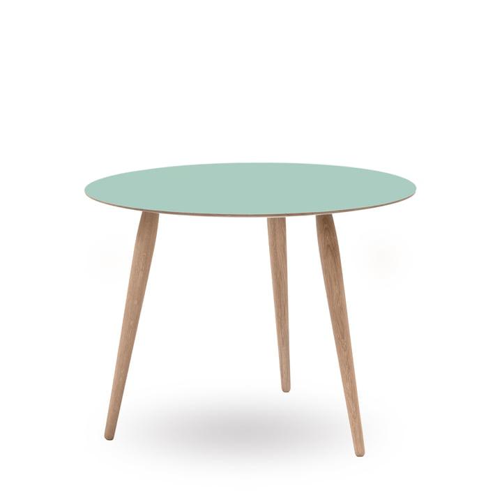 Play Round Laminate Beistelltisch Ø 75 cm von bruunmunch in Dusty Jade / Eiche weissöl