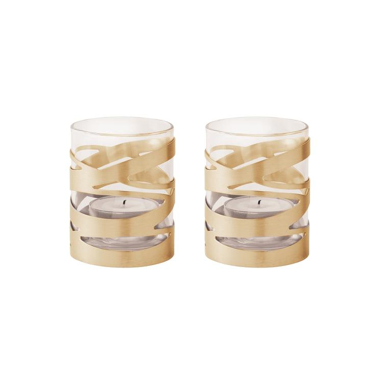 Tangle Teelichthalter Messing (2er-Set) von Stelton