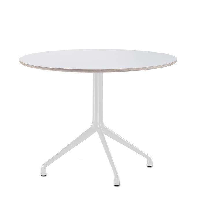 Hay - About A Table AAT 20 Esstisch, 3-beinig, Ø110 x H73 cm, weiss/weiss (Kunststoffgleiter)
