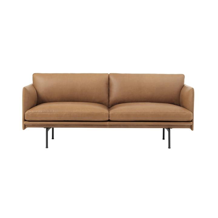 Outline Sofa 2-Sitzer von Muuto in Cognac Silk Leather / Verkehrsschwarz (RAL 9017)