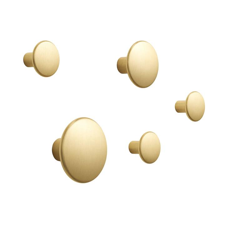 """5er-Set Wandhaken """"The Dots Metal"""" von Muuto aus Messing"""