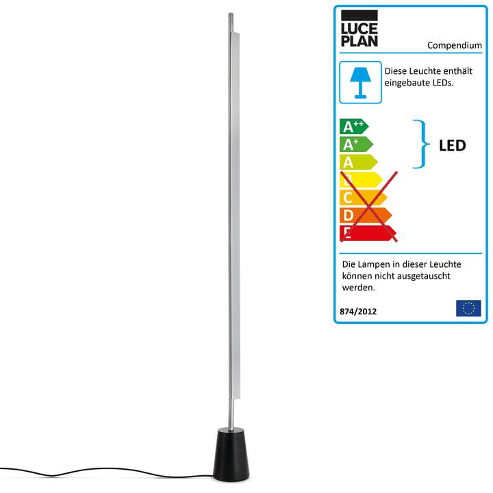 D81 Compendium LED Stehleuchte von Luceplan in Aluminium / Schwarz