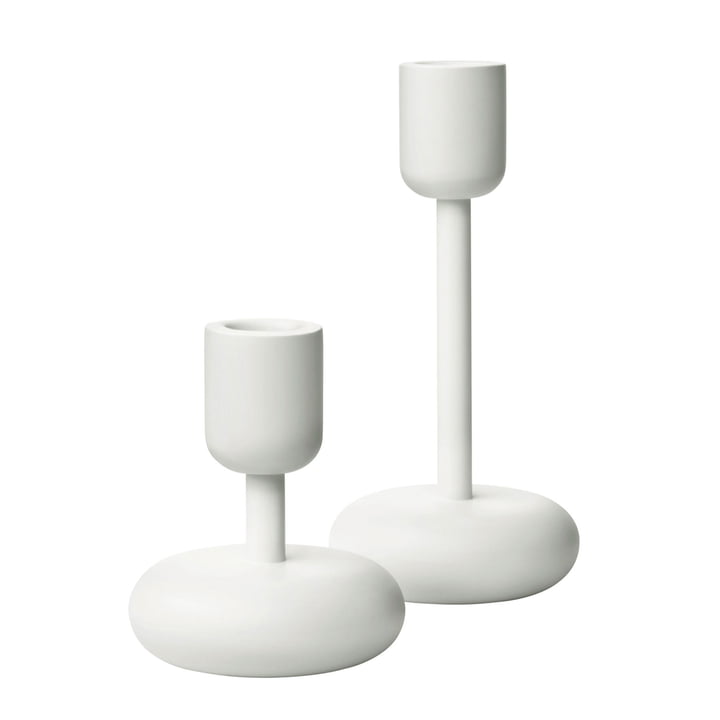 Iittala - Nappula Kerzenständer, 2er-Set, 107+183 mm, weiss