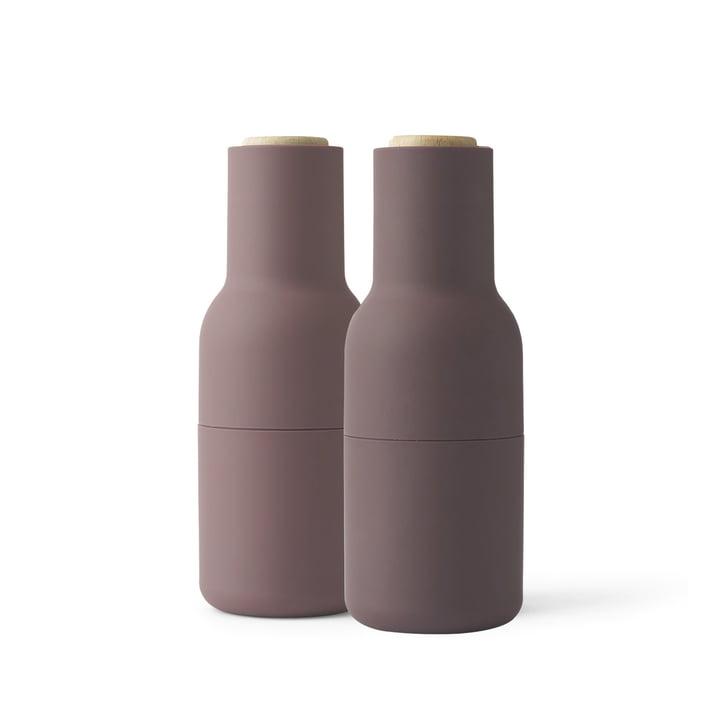 Bottle Salz- und Pfeffermühlen Set von Menu in Lila (Holzdeckel)