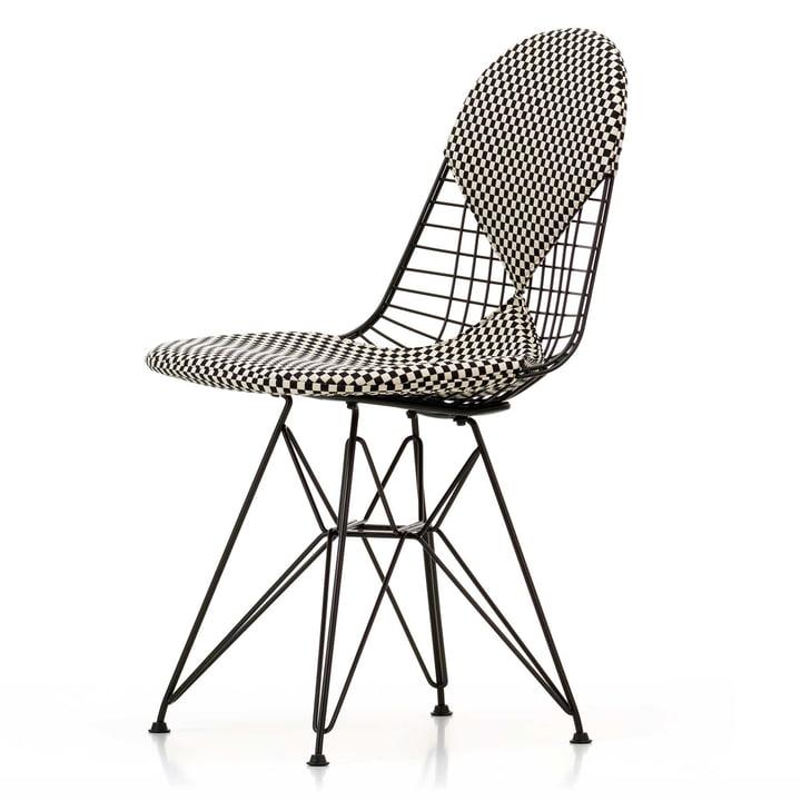 Vitra - Wire Chair DKR-2 Bikini, Hopsak Checker, Gestell schwarz, Filzgleiter (basic dark)