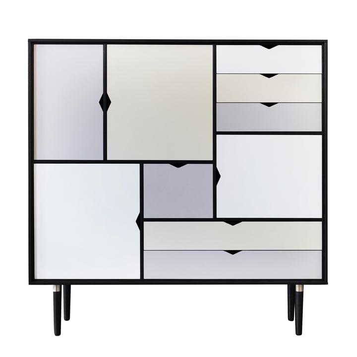 S3 Kommode von Andersen Furniture in Eiche schwarz lackiert (Fronten Silber, Beige, Metallgrau)