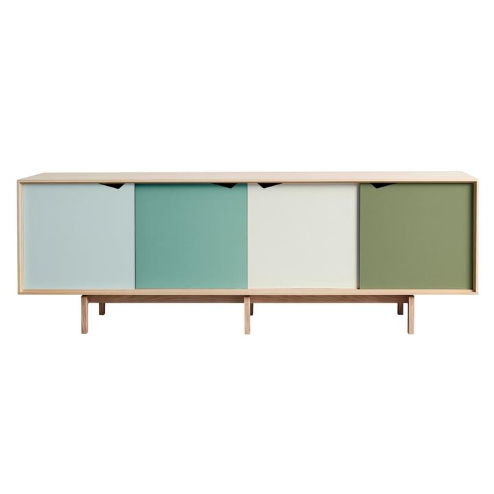 S1 Sideboard von Andersen Furniture in Eiche geseift (Türen Dali, Capri, Alpino, Pale Olive)