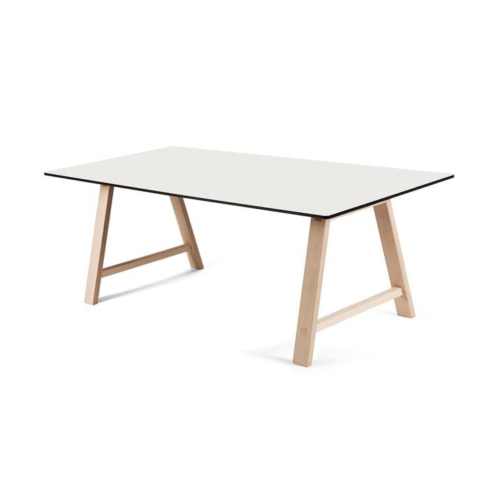 T1 Ausziehtisch 160cm von Andersen Furniture (Gestell Eiche geseifet, Tischplatte Laminat, weiss)