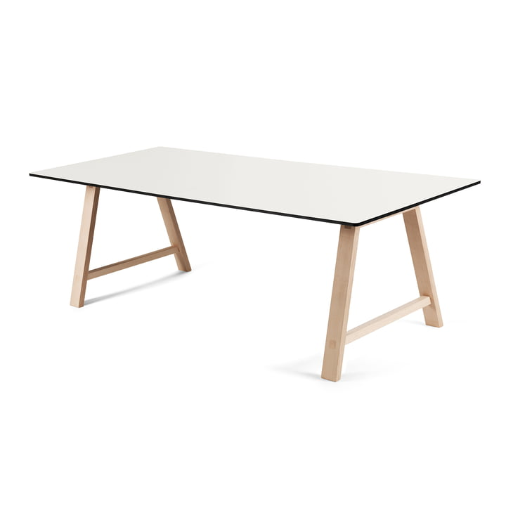 T1 Ausziehtisch 180 cm von Andersen Furniture (Gestell Eiche geseifet, Tischplatte Laminat, weiss)