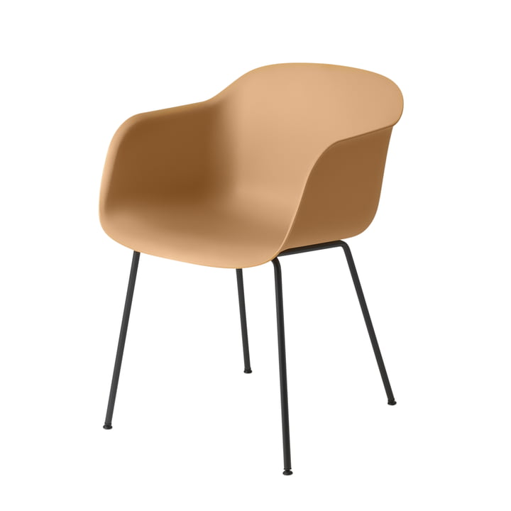 Fiber Chair Tube Base von Muuto in schwarz / ocker