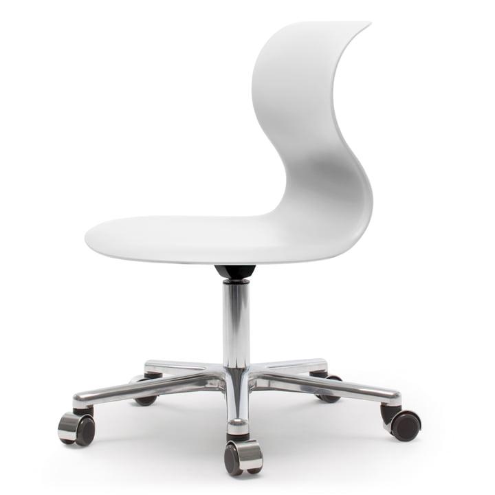 Pro Chair 6 Drehstuhl von Flötotto in Schneeweiss mit Gestell Aluminium poliert, weiche Rollen, ohne Sitzpolster