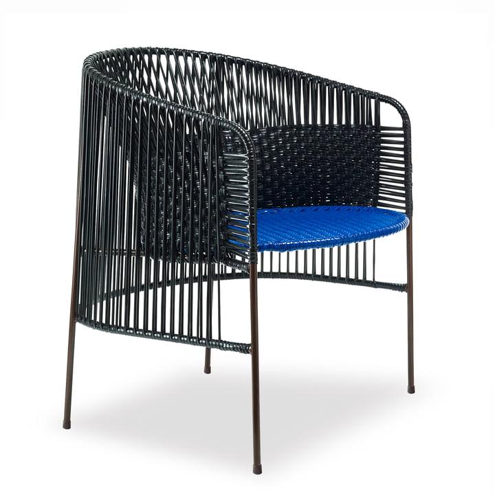 ames - caribe Lounge Chair, schwarz / blau / braun