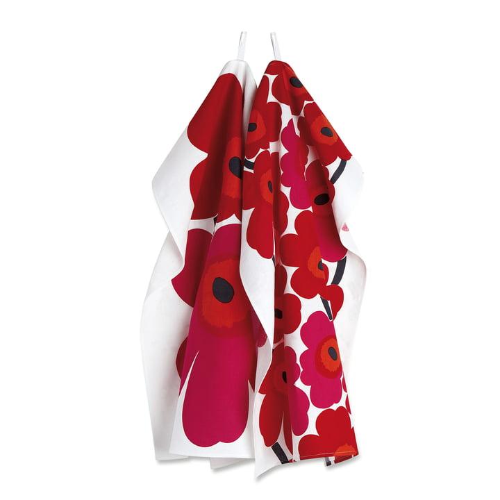 Unikko Geschirrtuch im 2er-Set von Marimekko in Rot / Weiß
