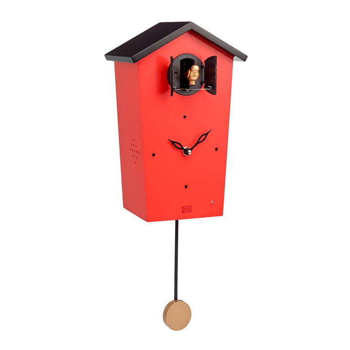 Bird House Kuckucksuhr von KooKoo in Rot (Limited Edition)